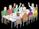Bild von 9 Menschen, die um einen Tisch sitzen und einige heben die Hand um abzustimmen©Lebenshilfe für Menschen mit geistiger Behinderung Bremen e.V., Illustrator Stefan Albers, Atelier Fleetinsel, 2013