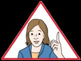 Bild Frau im Dreieck mit erhobenem Finger©Lebenshilfe für Menschen mit geistiger Behinderung Bremen e.V., Illustrator Stefan Albers, Atelier Fleetinsel, 2013