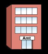 Bild von einem Gebäude. Über der Eingangstür steht Amt.©Lebenshilfe für Menschen mit geistiger Behinderung Bremen e.V., Illustrator Stefan Albers, Atelier Fleetinsel, 2013
