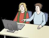 Bild zwei Personen am Laptop©Lebenshilfe für Menschen mit geistiger Behinderung Bremen e.V., Illustrator Stefan Albers, Atelier Fleetinsel, 2013