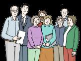 Bild von einer Gruppe von 8 Personen - Männern und Frauen©Lebenshilfe für Menschen mit geistiger Behinderung Bremen e.V., Illustrator Stefan Albers, Atelier Fleetinsel, 2013