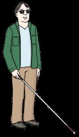 Bild mit einem blinden Mann mit Blindenstock©Lebenshilfe für Menschen mit geistiger Behinderung Bremen e.V., Illustrator Stefan Albers, Atelier Fleetinsel, 2013
