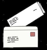 Bild von einem Brief, der gerade in einen Briefumschlag gesteckt wird©Lebenshilfe für Menschen mit geistiger Behinderung Bremen e.V., Illustrator Stefan Albers, Atelier Fleetinsel, 2013