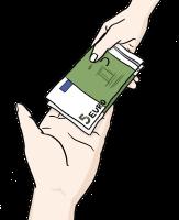 Bild Geld geben: Geldscheine werden von einer Hand in eine andere gegeben.©Lebenshilfe für Menschen mit geistiger Behinderung Bremen e.V., Illustrator Stefan Albers, Atelier Fleetinsel, 2013