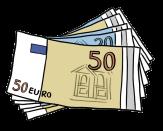 Bild von einem kleinen Stapel Geldscheine©Lebenshilfe für Menschen mit geistiger Behinderung Bremen e.V., Illustrator Stefan Albers, Atelier Fleetinsel, 2013
