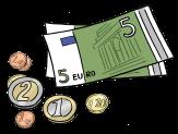 Geldscheine und Kleingeld©Lebenshilfe für Menschen mit geistiger Behinderung Bremen e.V., Illustrator Stefan Albers, Atelier Fleetinsel, 2013