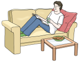 Bild Mann auf Sofa©Lebenshilfe für Menschen mit geistiger Behinderung Bremen e.V., Illustrator Stefan Albers, Atelier Fleetinsel, 2013
