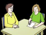 Bild von zwei Frauen am Tisch, die sich unterhalten. Eine Frau macht sich Notizen.©© gezeichnete Bilder: Lebenshilfe für Menschen mit geistiger Behinderung Bremen e.V., Illustrator Stefan Albers, Atelier Fleetinsel, 2013