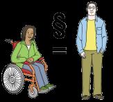 Bild von einer Frau im Rollstuhl, einem stehenden Mann, dazwischen ein Paragrafen-Zeichen©Lebenshilfe für Menschen mit geistiger Behinderung Bremen e.V., Illustrator Stefan Albers, Atelier Fleetinsel, 2013