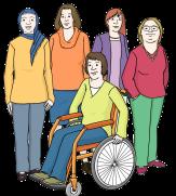 Bild von einer Gruppe von 5 Frauen. Dabei ist eine Rollstuhlfahrerin und eine Frau mit Kopftuch.©© gezeichnete Bilder: Lebenshilfe für Menschen mit geistiger Behinderung Bremen e.V., Illustrator Stefan Albers, Atelier Fleetinsel, 2013
