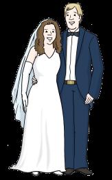 Bild von einem Brautpaar©Lebenshilfe für Menschen mit geistiger Behinderung Bremen e.V., Illustrator Stefan Albers, Atelier Fleetinsel, 2013