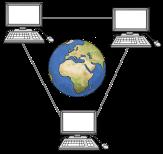 Bild von drei verbundenen Computern mit einem Globus in der Mitte als Symbol für Internet©Lebenshilfe für Menschen mit geistiger Behinderung Bremen e.V., Illustrator Stefan Albers, Atelier Fleetinsel, 2013