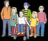 Bild mehrere Kinder mit und ohne Behinderungen©Lebenshilfe für Menschen mit geistiger Behinderung Bremen e.V., Illustrator Stefan Albers, Atelier Fleetinsel, 2013