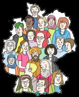 Bild von vielen Menschen in dem grafisch abgebildeten Deutschland©Lebenshilfe für Menschen mit geistiger Behinderung Bremen e.V., Illustrator Stefan Albers, Atelier Fleetinsel, 2013