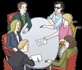Bild von 6 Personen, die um einen Tisch sitzen und reden.©Lebenshilfe für Menschen mit geistiger Behinderung Bremen e.V., Illustrator Stefan Albers, Atelier Fleetinsel, 2013
