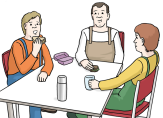Bild von mehreren Menschen an einem Tisch, die essen und trinken©Lebenshilfe für Menschen mit geistiger Behinderung Bremen e.V., Illustrator Stefan Albers, Atelier Fleetinsel, 2013