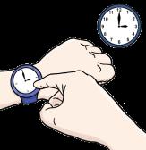Bild Armbanduhr und Wanduhr©Lebenshilfe für Menschen mit geistiger Behinderung Bremen e.V., Illustrator Stefan Albers, Atelier Fleetinsel, 2013