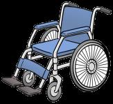Bild von einem blauen Rollstuhl, ohne Person©Die gezeichneten Bilder auf dieser Seite sind aus dem Buch Leichte Sprache – Die Bilder.  Das Buch ist von der Lebenshilfe für Menschen mit geistiger Behinderung Bremen e. V.  Der Zeichner ist Stefan Albers, Atelier Fleetinsel, 2013.