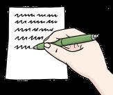 Bild von einem Blatt, auf dem mit einem Stift geschrieben wird©Lebenshilfe für Menschen mit geistiger Behinderung Bremen e.V., Illustrator Stefan Albers, Atelier Fleetinsel, 2013