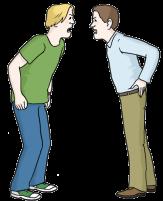 Bild von zwei Männern, die sich gegenüber stehen und sich anschreien©Lebenshilfe für Menschen mit geistiger Behinderung Bremen e.V., Illustrator Stefan Albers, Atelier Fleetinsel, 2013