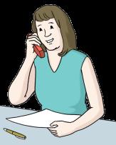Bild Frau am Schreibtisch mit Telefon am Ohr©Lebenshilfe für Menschen mit geistiger Behinderung Bremen e.V., Illustrator Stefan Albers, Atelier Fleetinsel, 2013