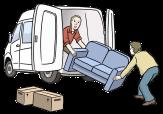 Bild von einem Möbelauto, in das zwei Männer ein Sofa einladen, und Umzugskisten©Lebenshilfe für Menschen mit geistiger Behinderung Bremen e.V., Illustrator Stefan Albers, Atelier Fleetinsel, 2013