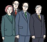 Bild vom Vorstand: drei Männer im Anzug und eine Frau im Kostüm©Lebenshilfe für Menschen mit geistiger Behinderung Bremen e.V., Illustrator Stefan Albers, Atelier Fleetinsel, 2013
