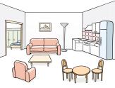 Bild von einer Wohnung©Lebenshilfe für Menschen mit geistiger Behinderung Bremen e.V., Illustrator Stefan Albers, Atelier Fleetinsel, 2013