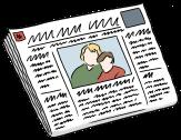 Bild von einer Zeitung©Lebenshilfe für Menschen mit geistiger Behinderung Bremen e.V., Illustrator Stefan Albers, Atelier Fleetinsel, 2013