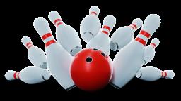 Eine rote Bowlingkugel wirft die 10 Kegel um©Pixabay, Master Tux