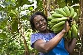 Afrikanische Frau mit Bananen auf der Schulter©Nathalie Bertrams