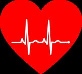 rotes großes Herz in dem EKG-Ausschläge zu sehen sind©Pixabay