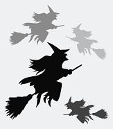 Mehrere Hexen schweben auf ihren Besen durch die Lüfte.©Universitätsstadt Marburg