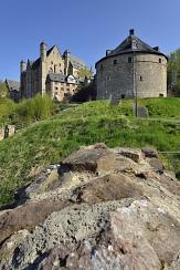 Foto vom Hexenturm und dem Marburger Schloss fotografiert von unten nach oben.©Georg Kronenberg