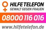 Logo, Telefonnummer und Website des bundesweiten Hilfetelefon Gewalt gegen Frauen©Bundesamt für Familie und zivilgesellschaftliche Aufgaben