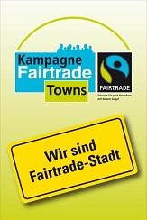 Logo der Kampagne Fairtrade Towns mit dem Untertitel: Wir sind Fairtrade Stadt©Universitätsstadt Marburg FD Umwelt, Fairer Handel und Abfallwirtschaft