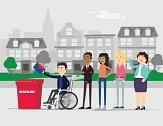 Bunte Figuren, einfach erklärt: Mit Videos, Flyern und einer Beklebung am Oberstadtaufzug erklärt die Stadt die Wahlen am 14. März.©Universitätsstadt Marburg