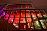 Buntes Licht unterstrich die moderne Architektur des Erwin-Piscator-Hauses.©Georg Kronenberg, Universitätsstadt Marburg