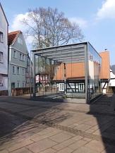 Glaskubus über der Ausgrabungsstätte der Mittelalterlichen Synagoge©Kerstin Hühnlein