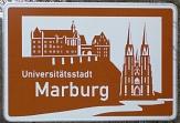 Schild Universitätsstadt Marburg mit Schloss und E-Kirche©Rainer Kieselbach